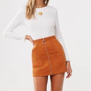 Chloe & Katie Copper Corduroy Zip Up Mini Skirt!